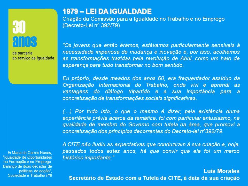 1979 – LEI DA IGUALDADE Criação da Comissão para a Igualdade no Trabalho e no Emprego (Decreto-Lei nº 392/79) Os jovens que então éramos, estávamos pa