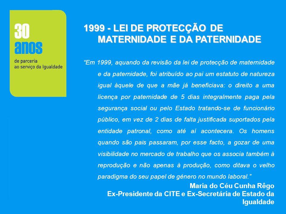1999 - LEI DE PROTECÇÃO DE MATERNIDADE E DA PATERNIDADE Em 1999, aquando da revisão da lei de protecção de maternidade e da paternidade, foi atribuído
