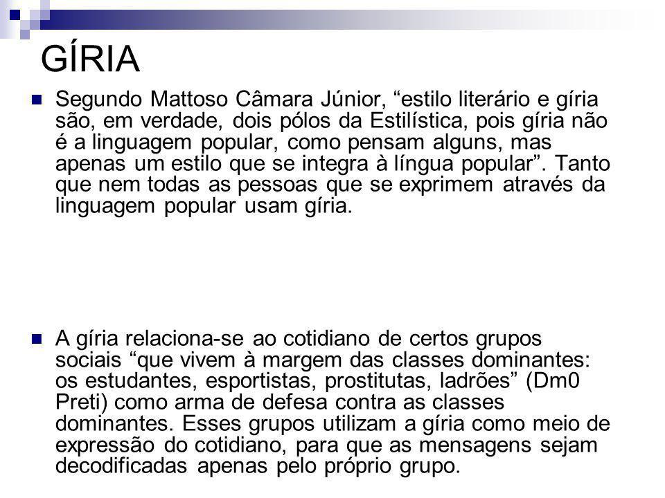 GÍRIA Segundo Mattoso Câmara Júnior, estilo literário e gíria são, em verdade, dois pólos da Estilística, pois gíria não é a linguagem popular, como p
