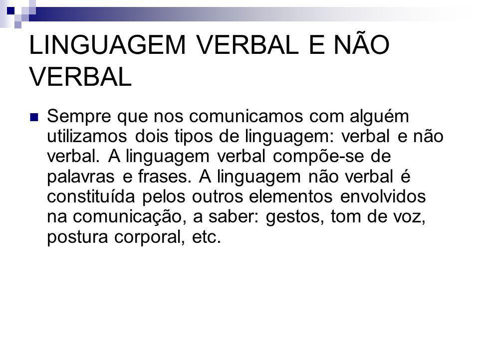 LINGUAGEM VERBAL E NÃO VERBAL Sempre que nos comunicamos com alguém utilizamos dois tipos de linguagem: verbal e não verbal. A linguagem verbal compõe