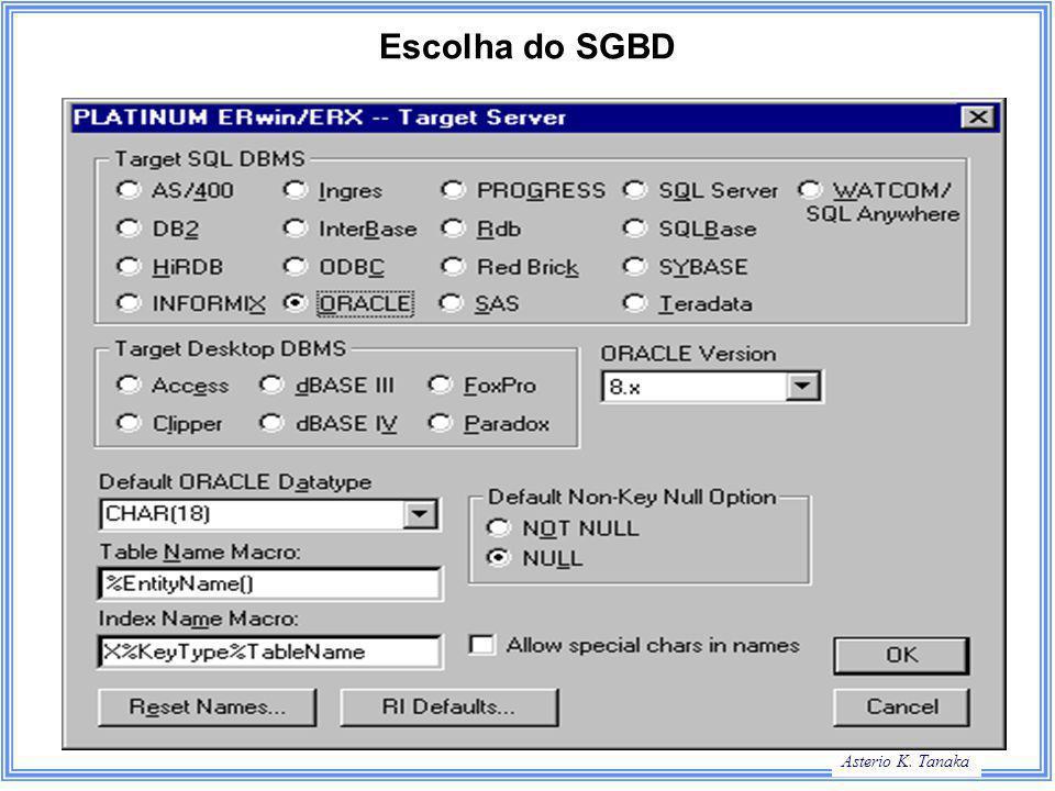 Asterio K. Tanaka Escolha do SGBD