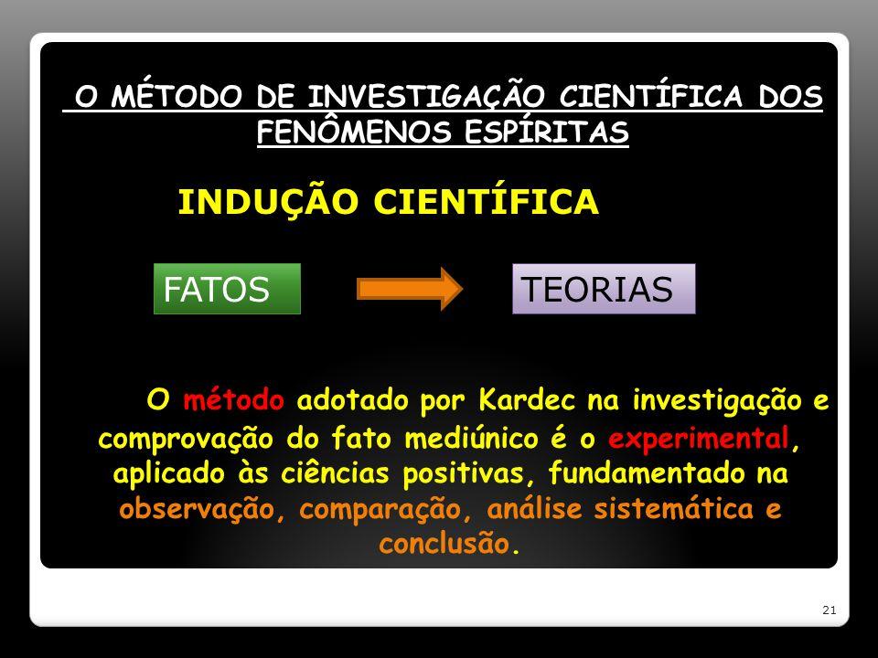 O MÉTODO DE INVESTIGAÇÃO CIENTÍFICA DOS FENÔMENOS ESPÍRITAS O método adotado por Kardec na investigação e comprovação do fato mediúnico é o experiment