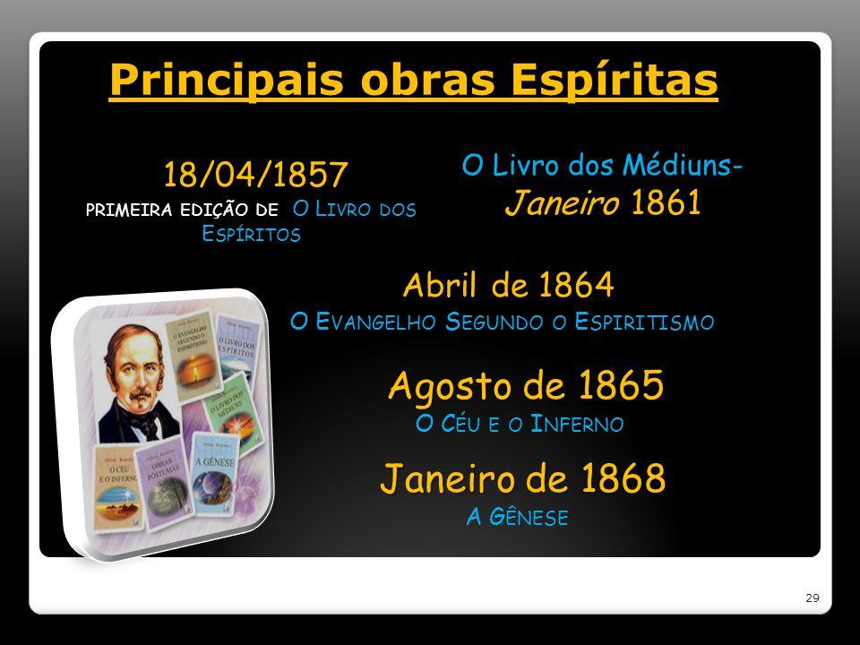 Principais obras Espíritas 18/04/1857 18/04/1857 PRIMEIRA EDIÇÃO DE O L IVRO DOS E SPÍRITOS O Livro dos Médiuns- Janeiro 1861 Abril de 1864 Abril de 1