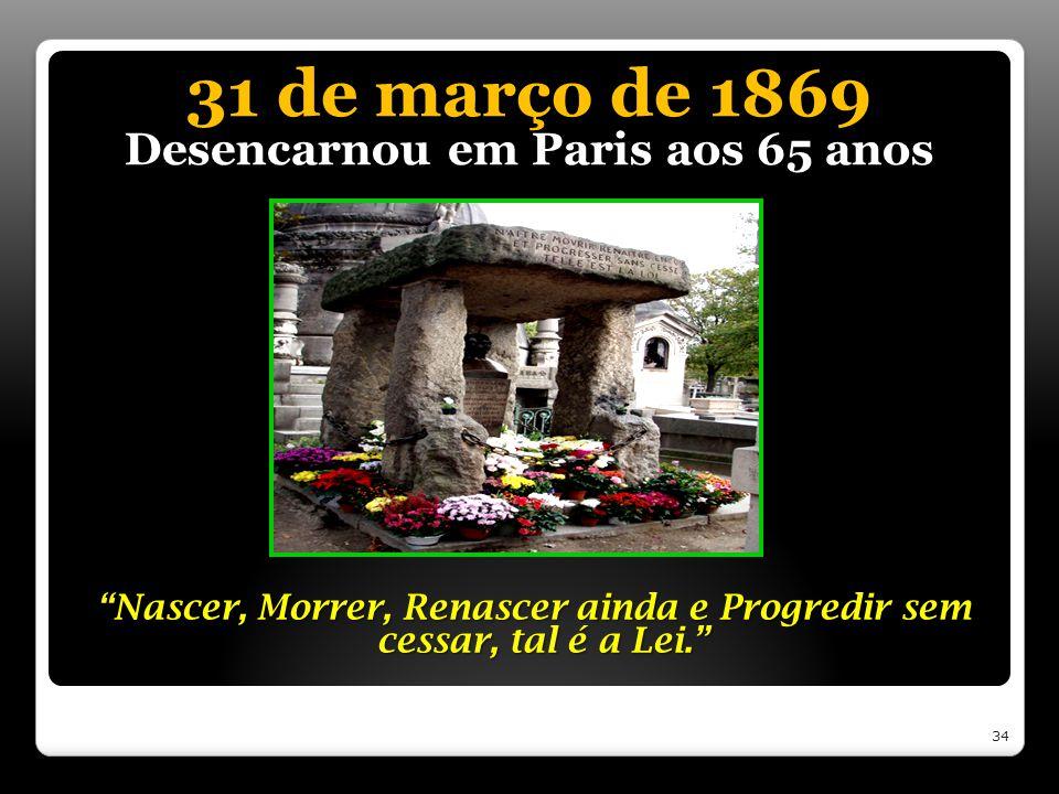 31 de março de 1869 Desencarnou em Paris aos 65 anos Nascer, Morrer, Renascer ainda e Progredir sem cessar, tal é a Lei. 34