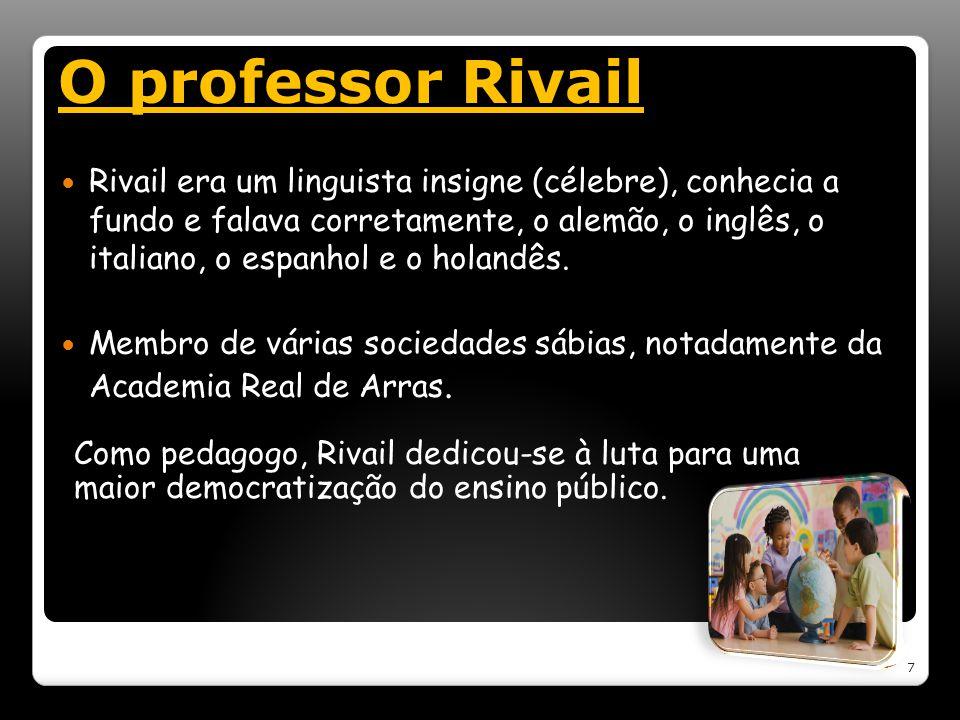 O professor Rivail Rivail era um linguista insigne (célebre), conhecia a fundo e falava corretamente, o alemão, o inglês, o italiano, o espanhol e o h