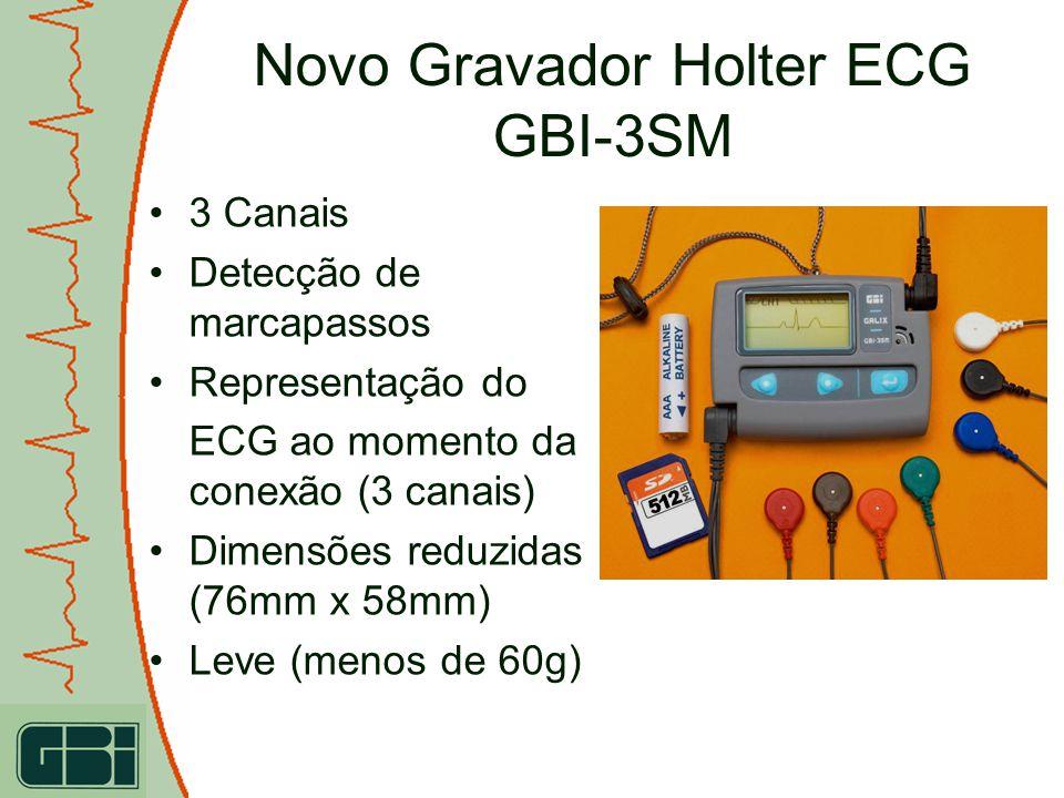 3 Canais Detecção de marcapassos Representação do ECG ao momento da conexão (3 canais) Dimensões reduzidas (76mm x 58mm) Leve (menos de 60g)