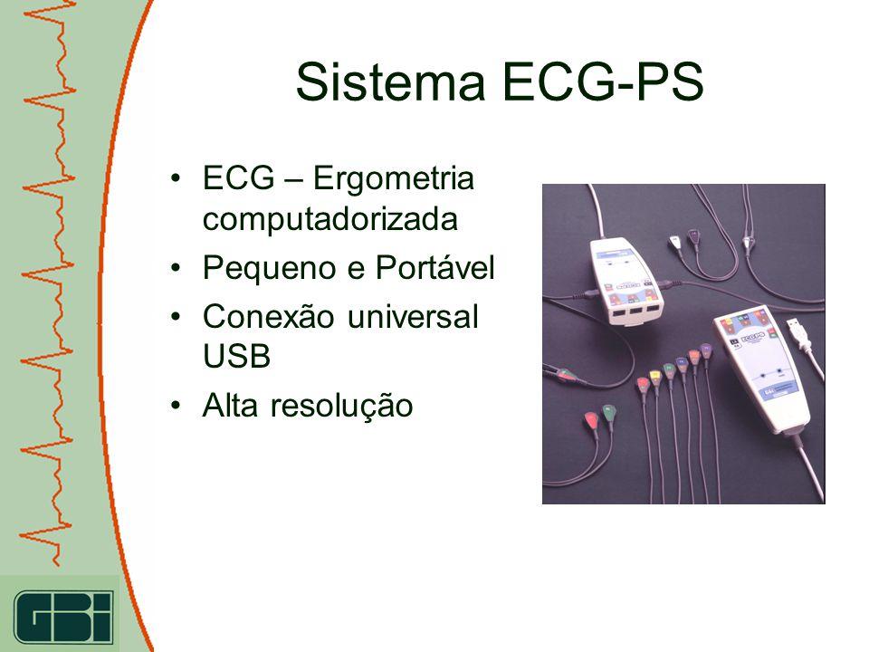 ECG – Ergometria computadorizada Pequeno e Portável Conexão universal USB Alta resolução