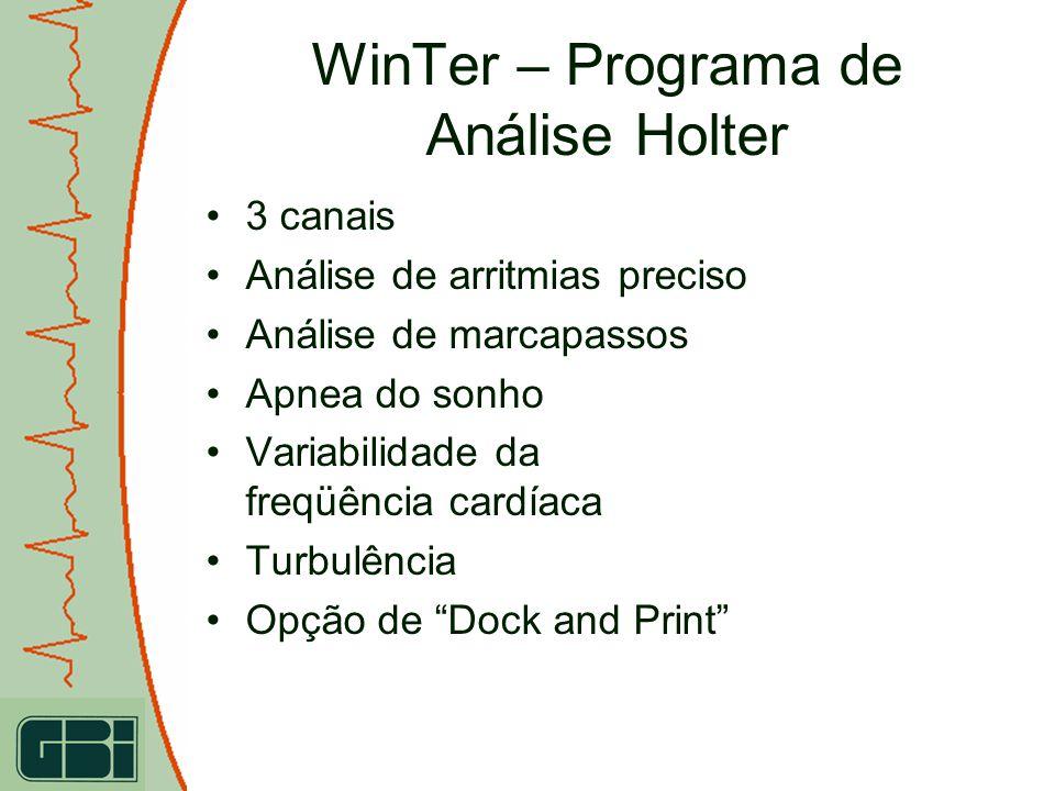 WinTer – Programa de Análise Holter 3 canais Análise de arritmias preciso Análise de marcapassos Apnea do sonho Variabilidade da freqüência cardíaca T
