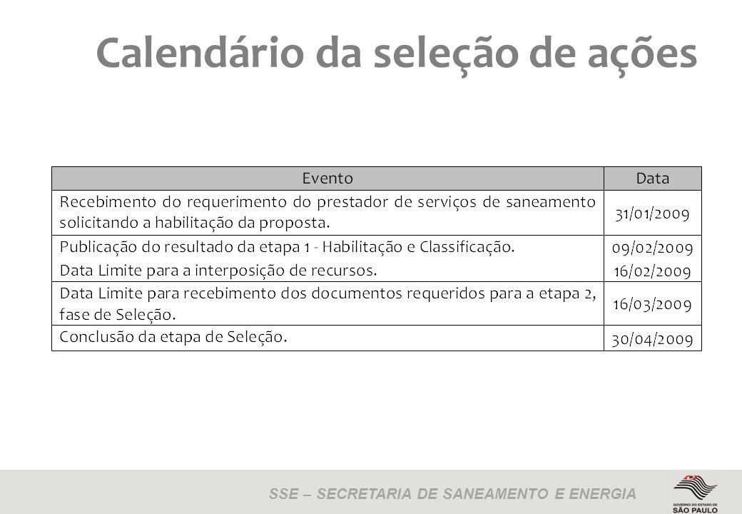 SSE – SECRETARIA DE SANEAMENTO E ENERGIA Calendário da seleção de ações