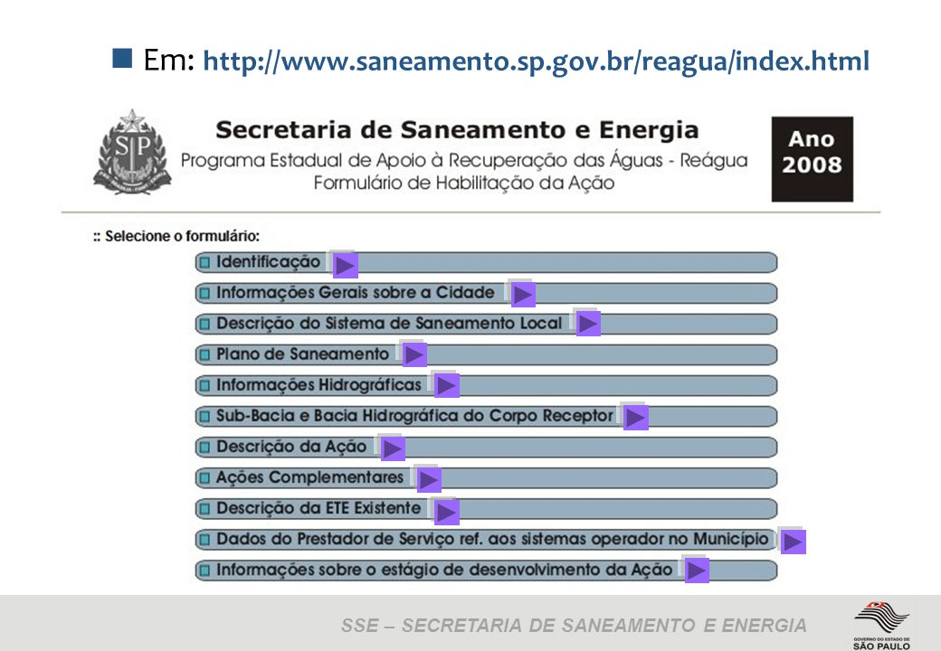 SSE – SECRETARIA DE SANEAMENTO E ENERGIA Em: http://www.saneamento.sp.gov.br/reagua/index.html
