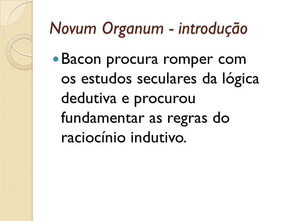 Novum Organum - introdução Bacon procura romper com os estudos seculares da lógica dedutiva e procurou fundamentar as regras do raciocínio indutivo.