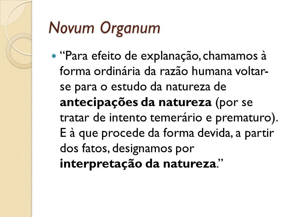 Novum Organum Para efeito de explanação, chamamos à forma ordinária da razão humana voltar- se para o estudo da natureza de antecipações da natureza (