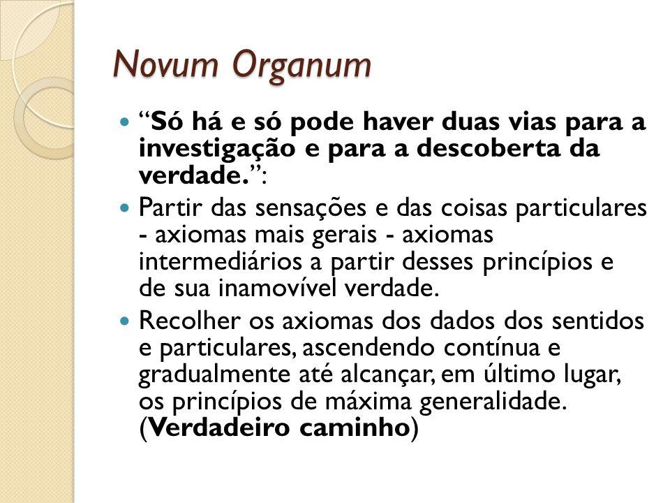 Novum Organum Só há e só pode haver duas vias para a investigação e para a descoberta da verdade.: Partir das sensações e das coisas particulares - ax