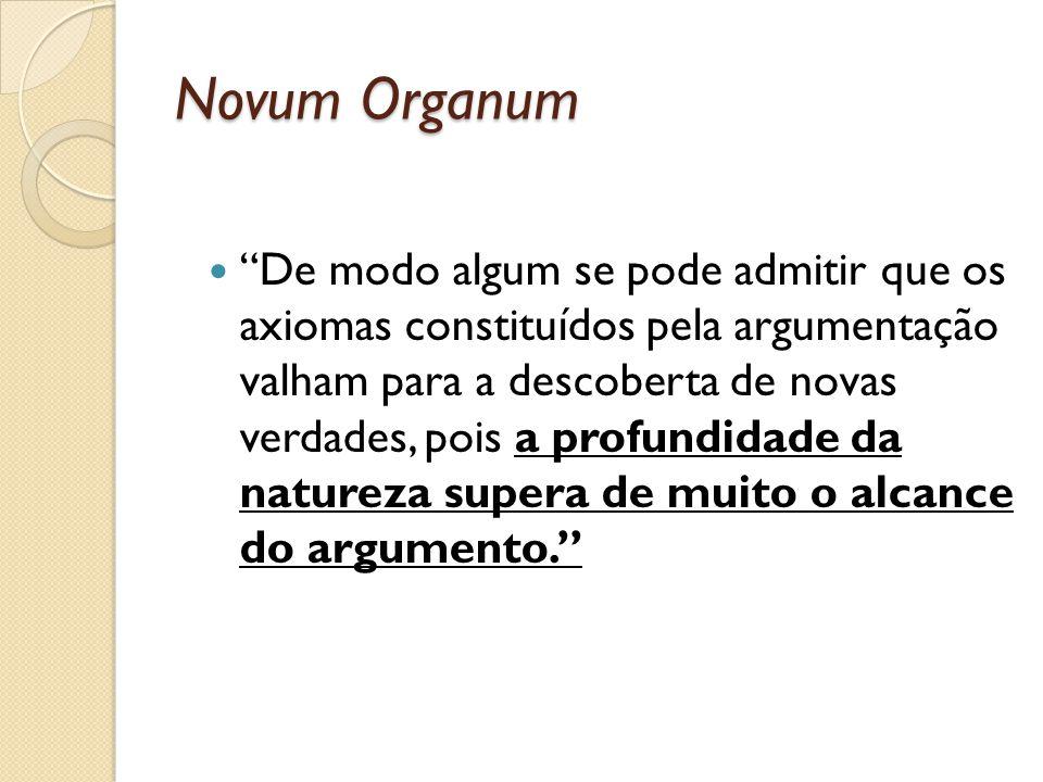 Novum Organum De modo algum se pode admitir que os axiomas constituídos pela argumentação valham para a descoberta de novas verdades, pois a profundid