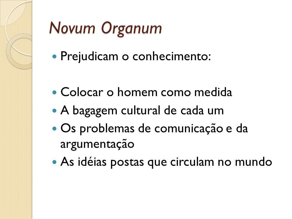 Novum Organum Prejudicam o conhecimento: Colocar o homem como medida A bagagem cultural de cada um Os problemas de comunicação e da argumentação As id