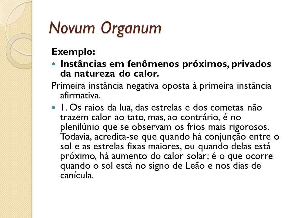 Novum Organum Exemplo: Instâncias em fenômenos próximos, privados da natureza do calor. Primeira instância negativa oposta à primeira instância afirma
