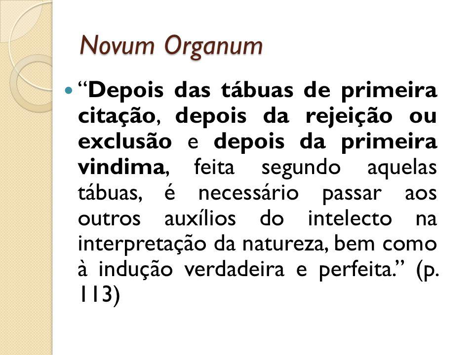 Novum Organum Depois das tábuas de primeira citação, depois da rejeição ou exclusão e depois da primeira vindima, feita segundo aquelas tábuas, é nece