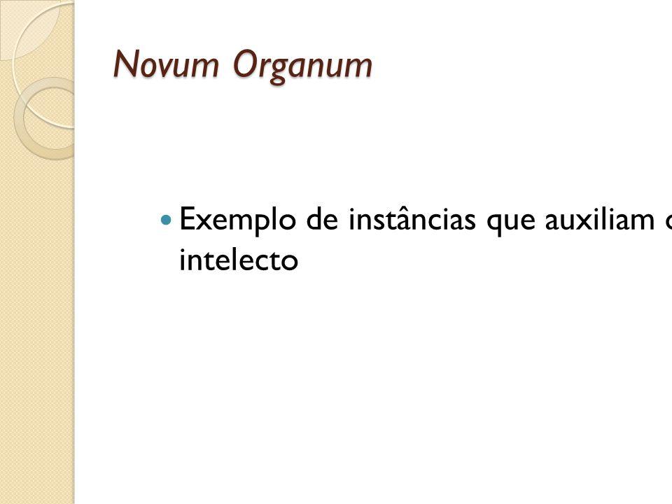 Novum Organum Exemplo de instâncias que auxiliam o intelecto