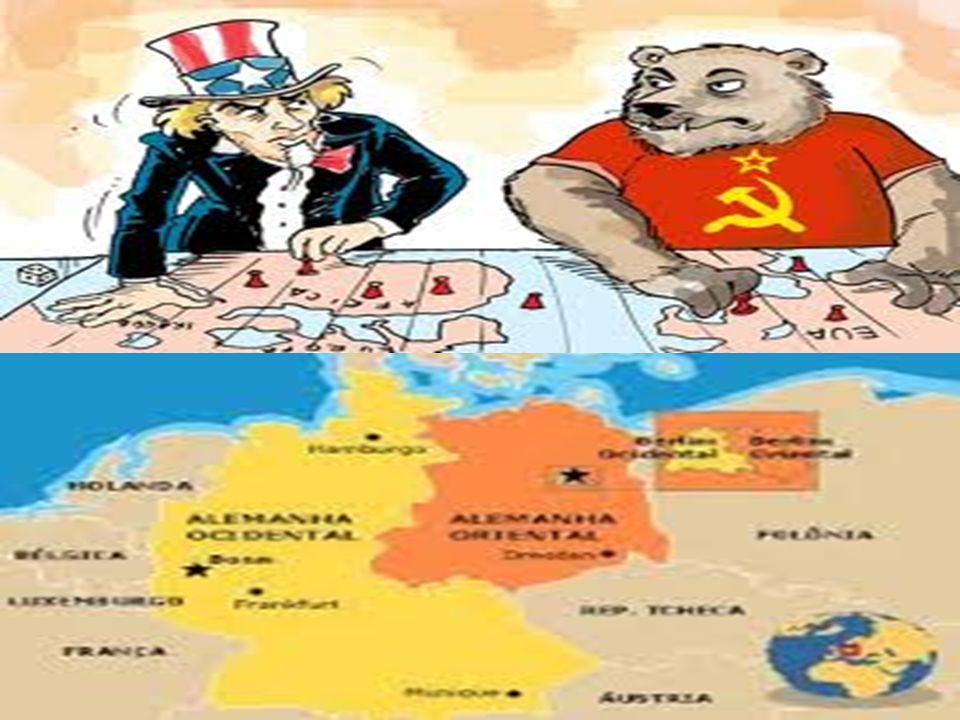 Corrida armamentista Outro fator que contribuiu para o enfraquecimento do poder político das potências europeias foi o poderio militar desenvolvido primeiramente pelos EUA (1945) e, posteriormente, pela URSS (1949).