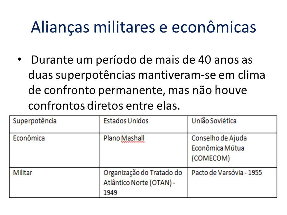 Alianças militares e econômicas Durante um período de mais de 40 anos as duas superpotências mantiveram-se em clima de confronto permanente, mas não h