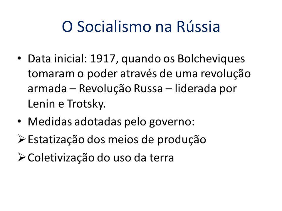 O Socialismo na Rússia Data inicial: 1917, quando os Bolcheviques tomaram o poder através de uma revolução armada – Revolução Russa – liderada por Len