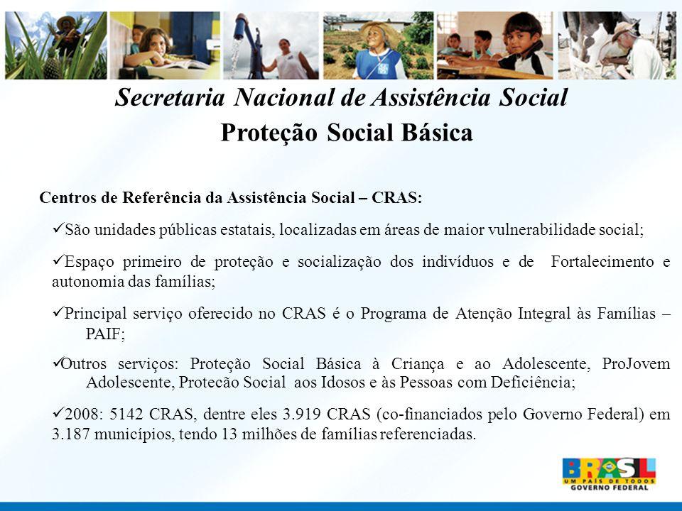 Proteção Social Básica Centros de Referência da Assistência Social – CRAS: São unidades públicas estatais, localizadas em áreas de maior vulnerabilida