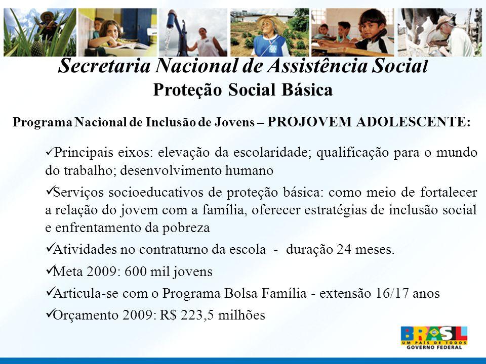 Programa Nacional de Inclusão de Jovens – PROJOVEM ADOLESCENTE: Principais eixos: elevação da escolaridade; qualificação para o mundo do trabalho; des