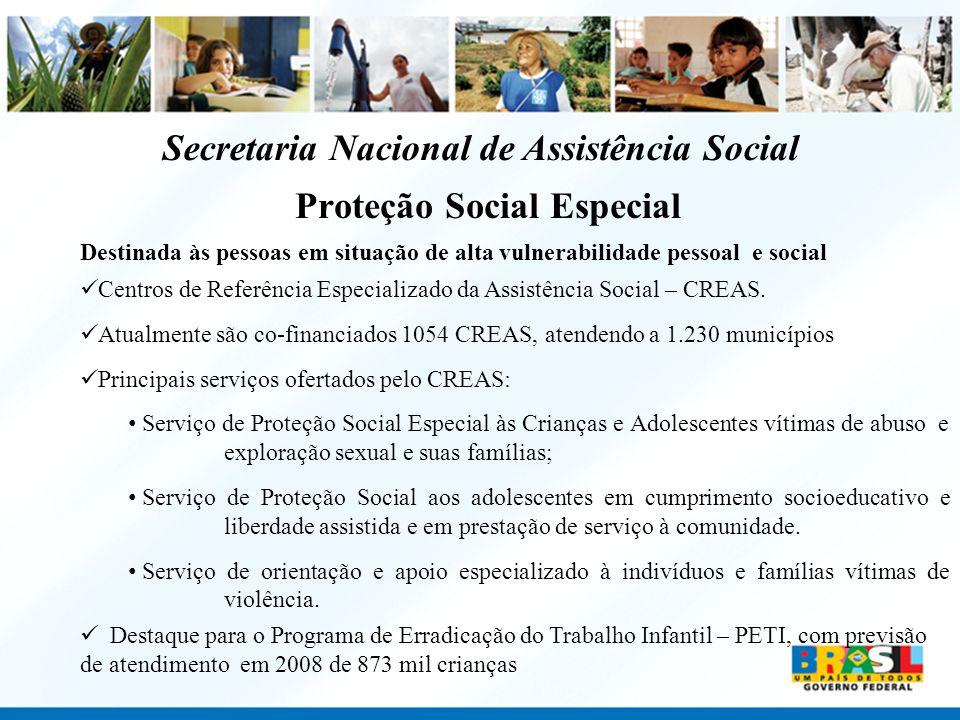 Proteção Social Especial Destinada às pessoas em situação de alta vulnerabilidade pessoal e social Centros de Referência Especializado da Assistência