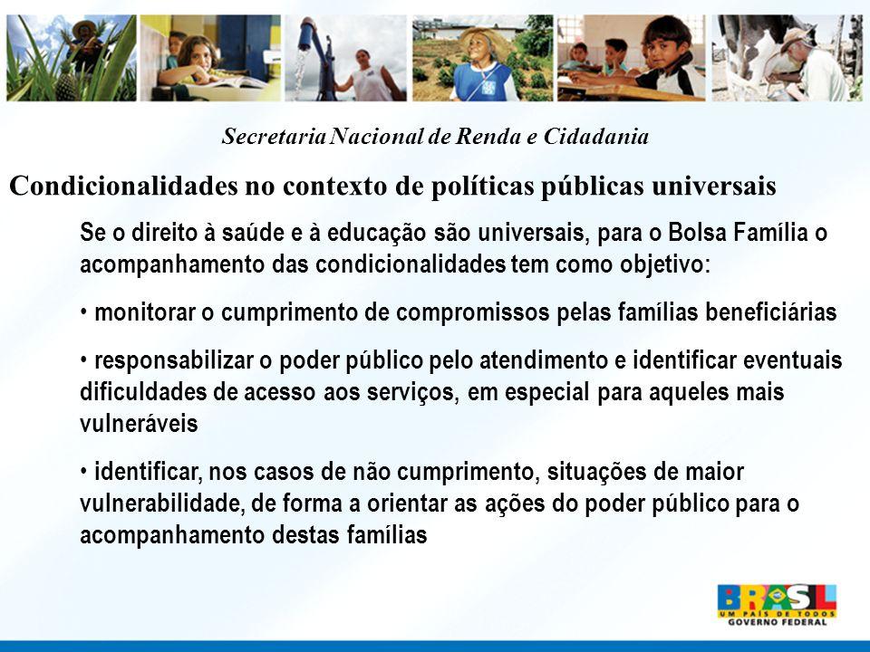 Secretaria Nacional de Renda e Cidadania Condicionalidades no contexto de políticas públicas universais Se o direito à saúde e à educação são universa