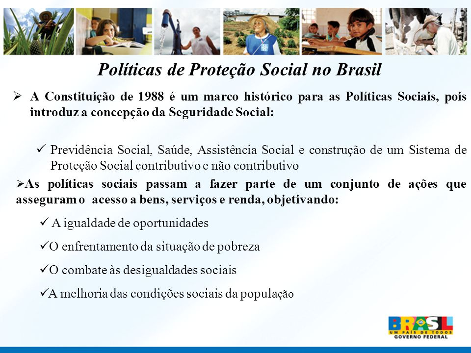 Políticas de Proteção Social no Brasil A Constituição de 1988 é um marco histórico para as Políticas Sociais, pois introduz a concepção da Seguridade