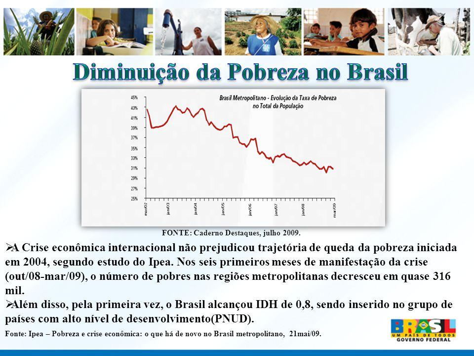 FONTE: Caderno Destaques, julho 2009. A Crise econômica internacional não prejudicou trajetória de queda da pobreza iniciada em 2004, segundo estudo d