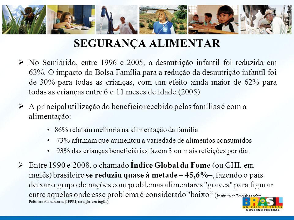 SEGURANÇA ALIMENTAR No Semiárido, entre 1996 e 2005, a desnutrição infantil foi reduzida em 63%. O impacto do Bolsa Família para a redução da desnutri