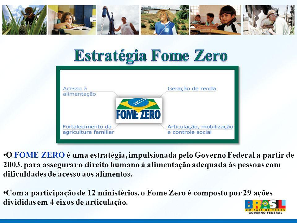 O FOME ZERO é uma estratégia, impulsionada pelo Governo Federal a partir de 2003, para assegurar o direito humano à alimentação adequada às pessoas co