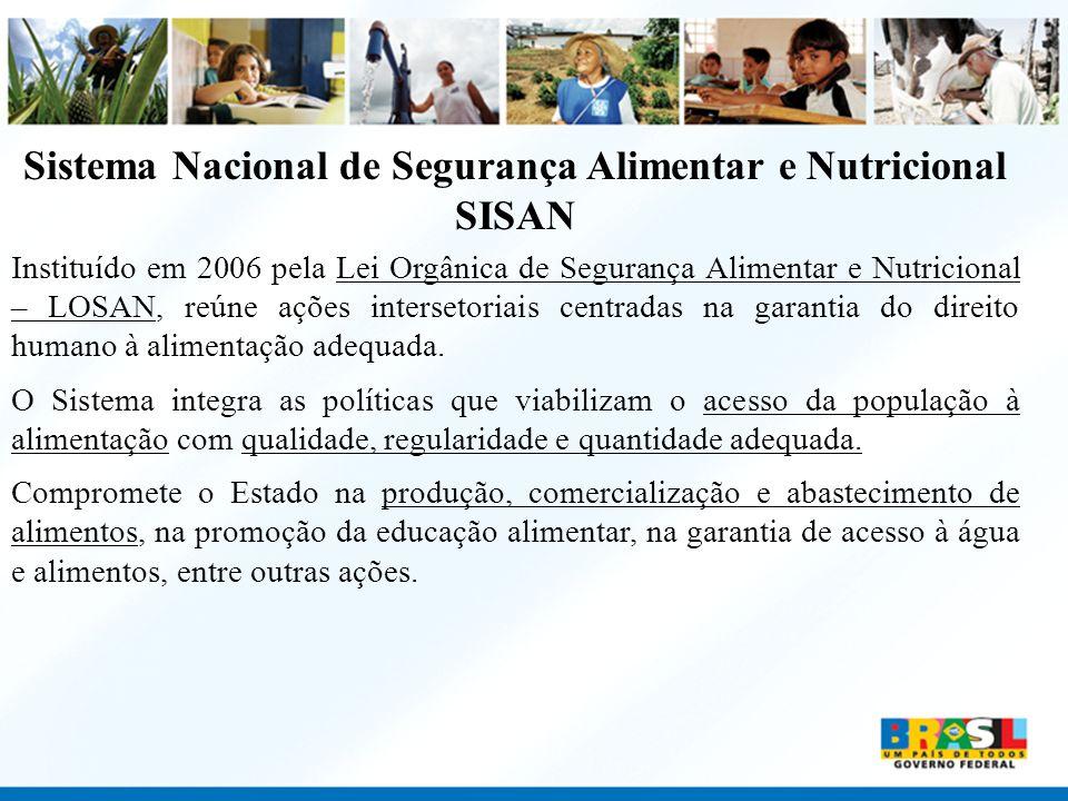 Sistema Nacional de Segurança Alimentar e Nutricional SISAN Instituído em 2006 pela Lei Orgânica de Segurança Alimentar e Nutricional – LOSAN, reúne a