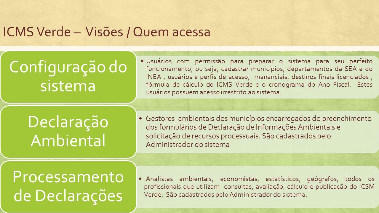 ICMS Verde – Visões / Quem acessa Usuários com permissão para preparar o sistema para seu perfeito funcionamento, ou seja, cadastrar municípios, depar
