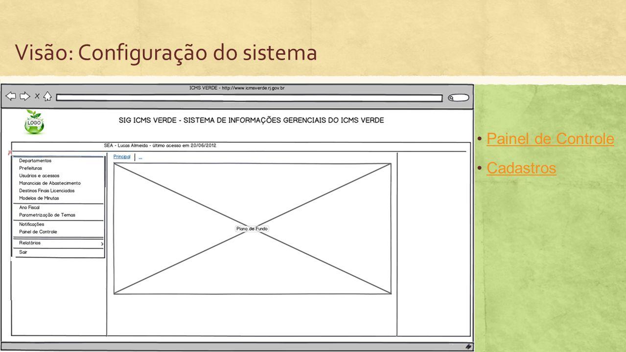 Visão: Configuração do sistema Painel de Controle Cadastros