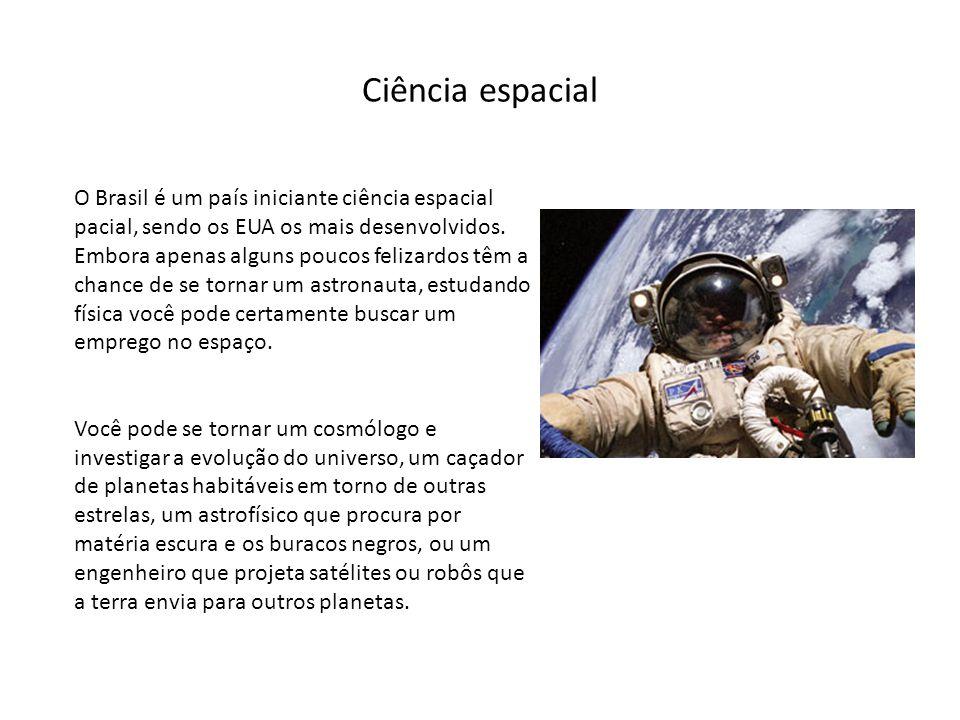 Ciência espacial O Brasil é um país iniciante ciência espacial pacial, sendo os EUA os mais desenvolvidos. Embora apenas alguns poucos felizardos têm