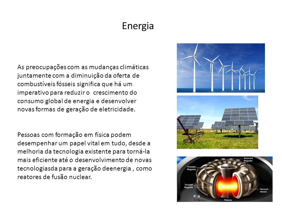Energia As preocupações com as mudanças climáticas juntamente com a diminuição da oferta de combustíveis fósseis significa que há um imperativo para r
