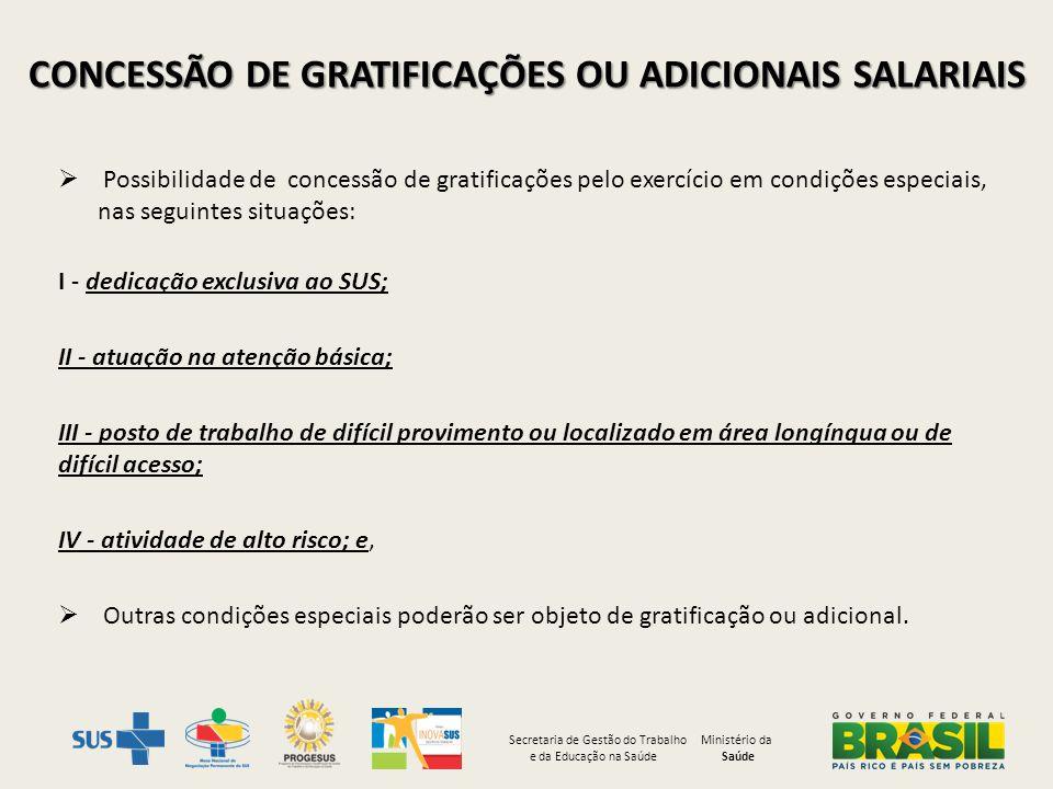 CONCESSÃO DE GRATIFICAÇÕES OU ADICIONAIS SALARIAIS Possibilidade de concessão de gratificações pelo exercício em condições especiais, nas seguintes si