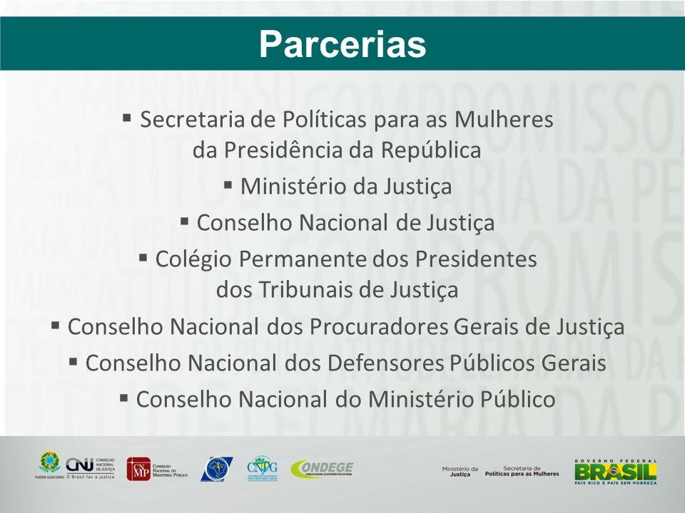 Secretaria de Políticas para as Mulheres da Presidência da República Ministério da Justiça Conselho Nacional de Justiça Colégio Permanente dos Preside