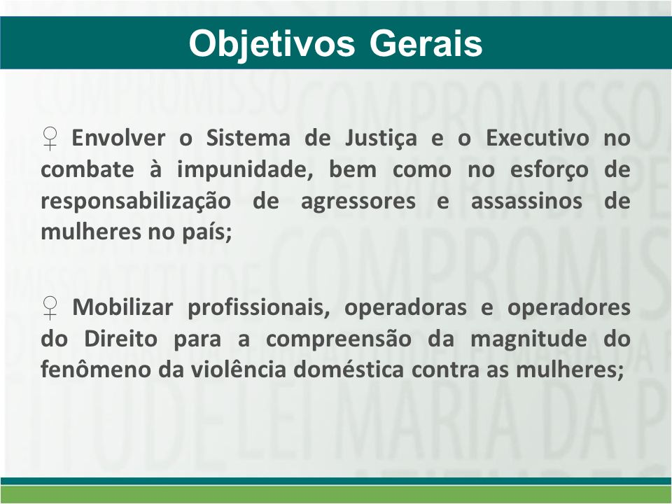 Envolver o Sistema de Justiça e o Executivo no combate à impunidade, bem como no esforço de responsabilização de agressores e assassinos de mulheres no país; Mobilizar profissionais, operadoras e operadores do Direito para a compreensão da magnitude do fenômeno da violência doméstica contra as mulheres; Objetivos Gerais
