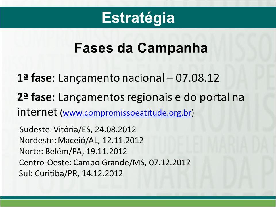 Estratégia 1ª fase: Lançamento nacional – 07.08.12 2ª fase: Lançamentos regionais e do portal na internet (www.compromissoeatitude.org.br)www.compromissoeatitude.org.br Sudeste: Vitória/ES, 24.08.2012 Nordeste: Maceió/AL, 12.11.2012 Norte: Belém/PA, 19.11.2012 Centro-Oeste: Campo Grande/MS, 07.12.2012 Sul: Curitiba/PR, 14.12.2012 Fases da Campanha