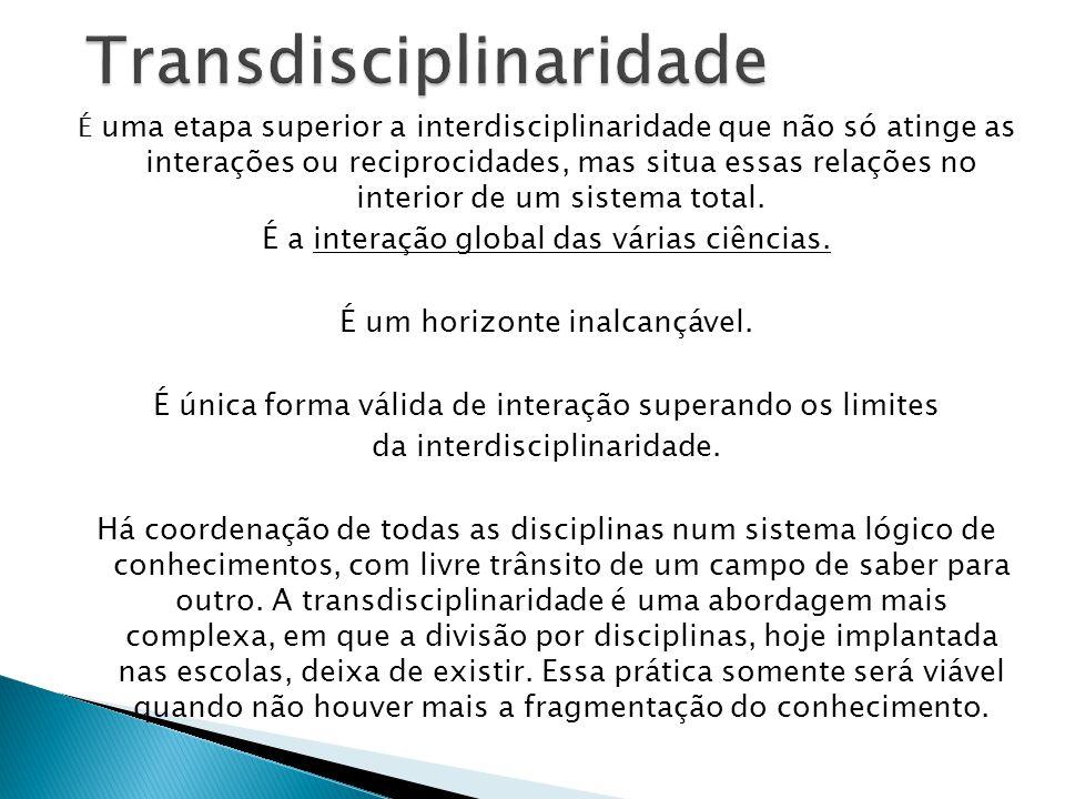 Diz respeito ao que está, ao mesmo tempo, entre as disciplinas, através das diferentes disciplinas e além de todas as disciplinas.