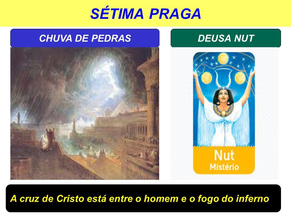 SÉTIMA PRAGA DEUSA NUTCHUVA DE PEDRAS A cruz de Cristo está entre o homem e o fogo do inferno