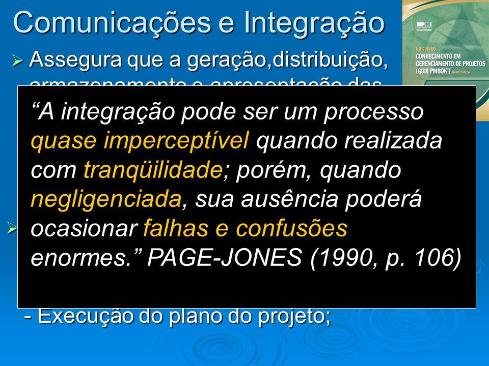 Comunicações e Integração Assegura que a geração,distribuição, armazenamento e apresentação das informações do projeto sejam feitas de forma adequada
