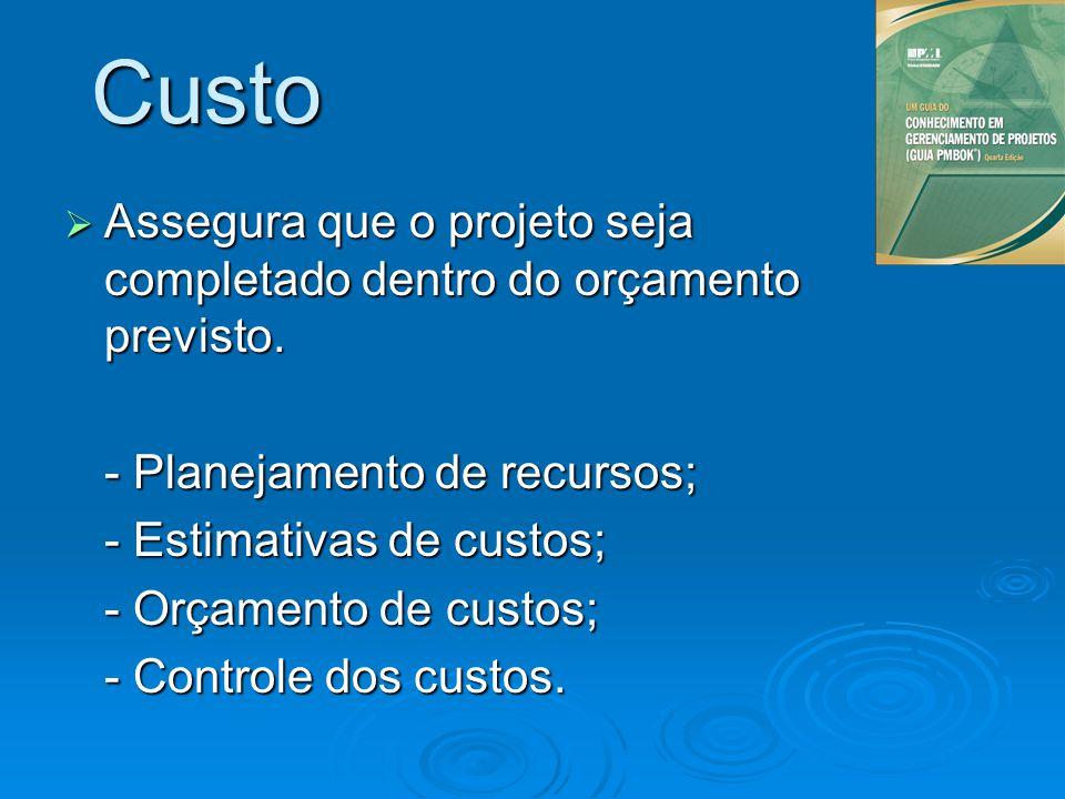 Custo Assegura que o projeto seja completado dentro do orçamento previsto. Assegura que o projeto seja completado dentro do orçamento previsto. - Plan