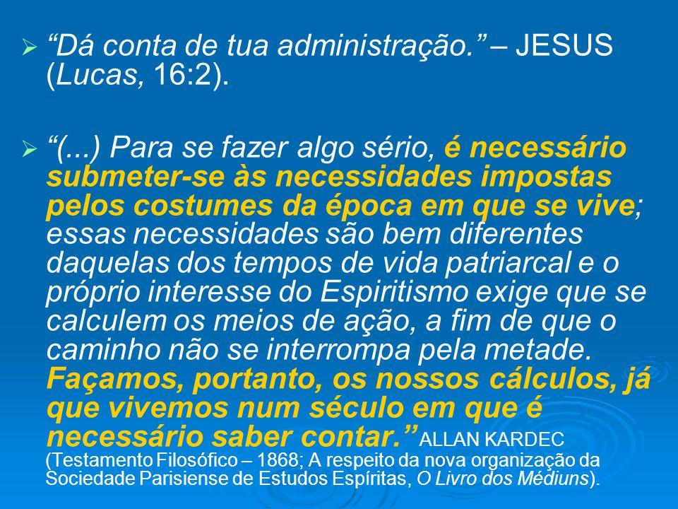 Dá conta de tua administração. – JESUS (Lucas, 16:2). (...) Para se fazer algo sério, é necessário submeter-se às necessidades impostas pelos costumes