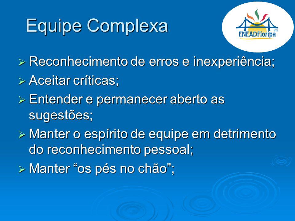 Equipe Complexa Reconhecimento de erros e inexperiência; Reconhecimento de erros e inexperiência; Aceitar críticas; Aceitar críticas; Entender e perma