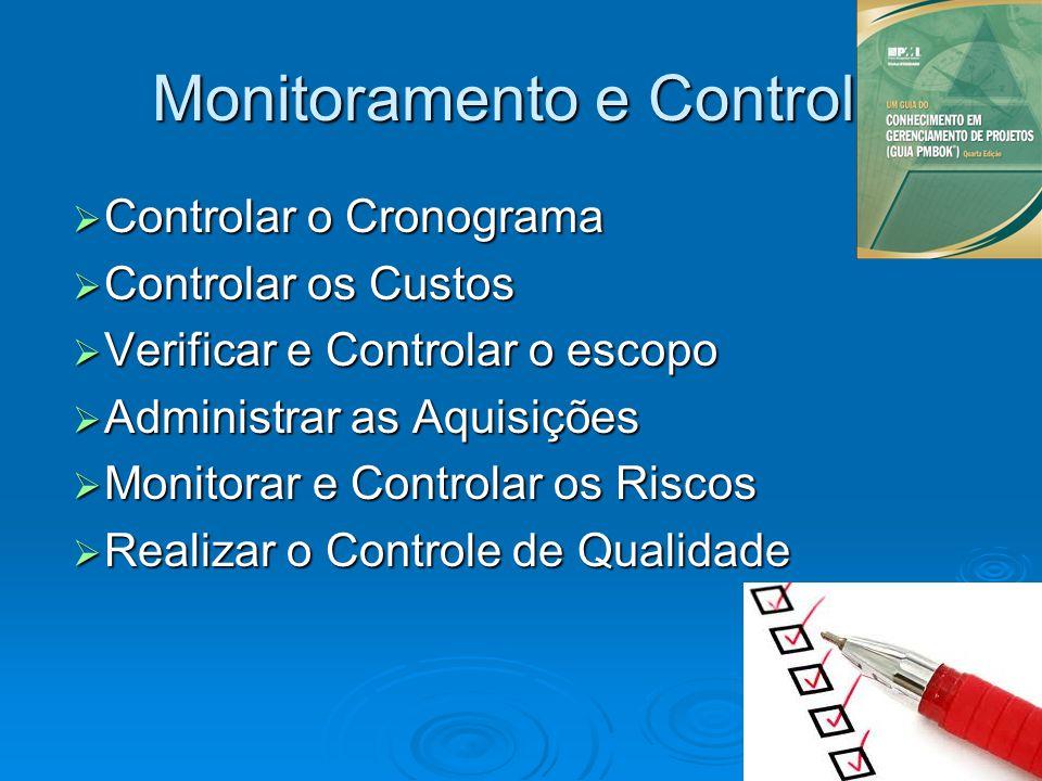 Monitoramento e Controle Controlar o Cronograma Controlar o Cronograma Controlar os Custos Controlar os Custos Verificar e Controlar o escopo Verifica