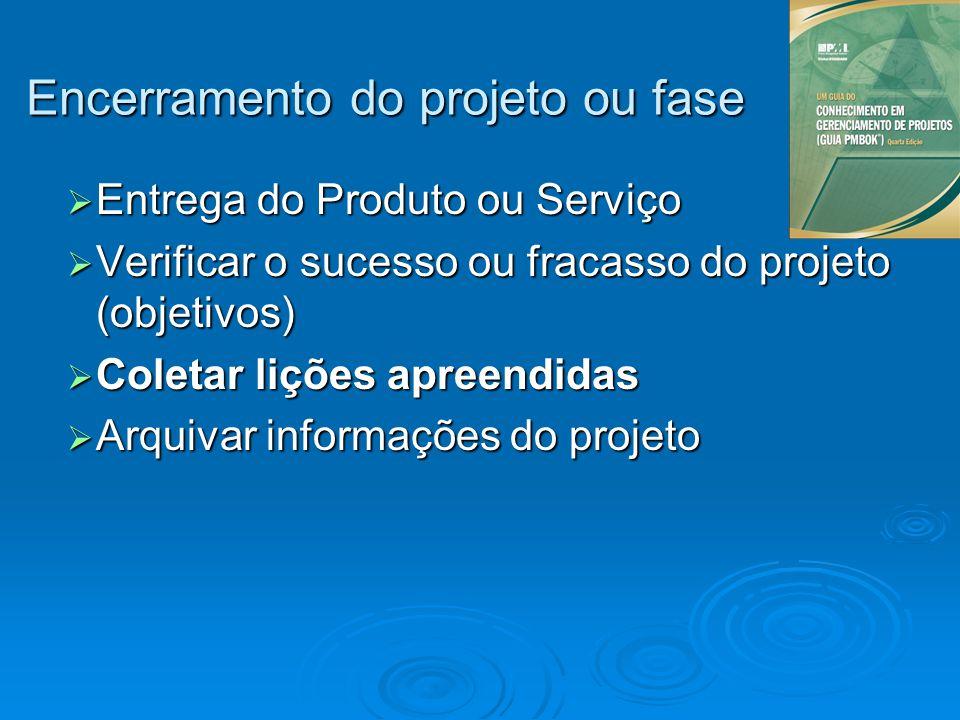 Entrega do Produto ou Serviço Entrega do Produto ou Serviço Verificar o sucesso ou fracasso do projeto (objetivos) Verificar o sucesso ou fracasso do
